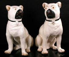 Antique Pair of Pug Dog Victorian Staffordshire Figures Circa 1880