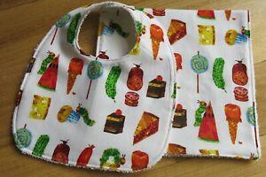 Bib and burp cloth- Hungry caterpillar food