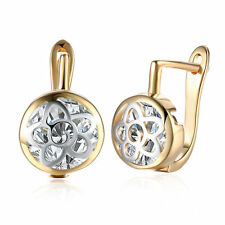 Women Wedding 18K Gold Plated Hollow Flower Zircon Buckle Hoop Huggie Earrings
