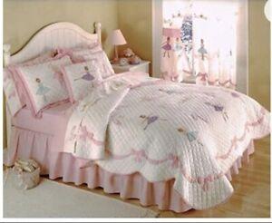 Kids Twin Quilt ballerina Girls cotton appliqué blanket crown princess 82 x 75