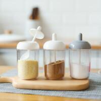 Plastic Spice Salt Pepper Seasoning Jar Kitchen Condiment Bottle with Spoon #K