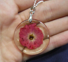 pink dried flower resin pendant silver plated