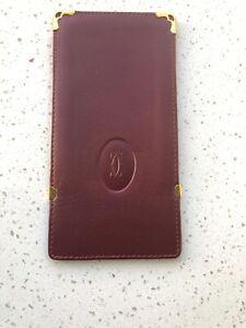 100% Authentic Must De Cartier Bordeaux Leather Glasses Case/dd40