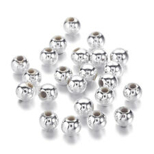 200pcs Silver Plated Chunky Acrylic Beads Round Smooth Loose Spacer Tiny 4mm DIA