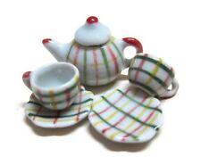 Crosshatch  Tea Coffee Set Painted Dollhouse Miniatures Ceramic Supply Food