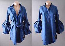 Women's Casual Blue Denim Bubble Long Sleeve Shirt Blouse Bow Belt Mini Dress S