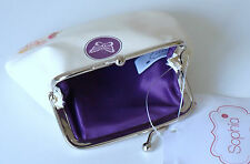 Purse in Cream with Purple Liner - Bird, Butterfly & Floral Design - Coin Purse