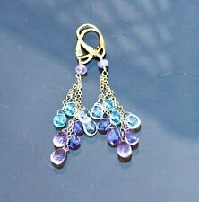 Natural Blue Topaz , Pink Topaz Amethyst Wire Wrapped Earrings 14k Gold Filled