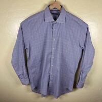 Peter Millar Button Up Shirt Mens XL White Blue Brown Check Long Sleeve Dress
