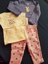 Newborn baby girl 3 pc set Carter's pant and two bodysuits