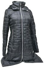 Spyder Syrround Long Down Coat Women SMALL Black Hooded Winter Snow 700 Fill