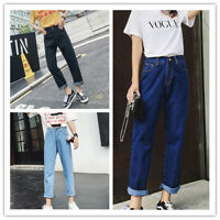 Women's Straight Leg Relaxed Fit Boyfriend Style Washed Crop Denim Pants Jeans