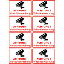 "8 Stück Set - Aufkleber ""Achtung Videoüberwachung"" 100x65 mm, selbstklebend"