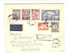 Polen Briefmarken Brief von 1951 Groszy Aufdruck Mi 590, 639, 640, 646, 667, 670