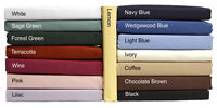 100% Cotton Fitted Bed Sheets in plain Dyed Colours Single, Double, King