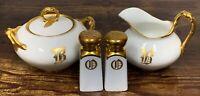 Estate JP L France Limoges Cunningham Gold & China Salt/Pepper Sugar/Creamer Set