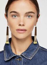 NEW Free People Half Moon Tassel Earrings Gold/Green Fringe