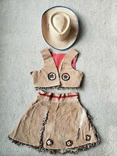 Vintage girl's cowgirl skirt, vest & hat from 1950's