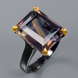 Fluorite Ring Silver 925 Sterling 14x11 mm. Multi color Size 9 /R141021