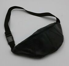 Vintage Black Leather 2 Zipper Pockets Fanny Pack Waist Pack Carry Pouch 90's