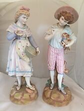 "Antique German Bisque Figurines Girl Holding Basket Boy Holding Dog 19"" Pair"