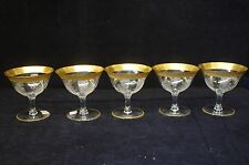 5 Tiffin Etched Low Sherbert Glasses Gold Trimmed Mouth & Stem Cordial Crystal