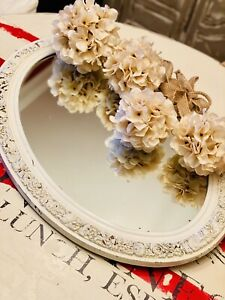 Antique Distressed/Chippy White Oval Metal Mirror Floral Embossed