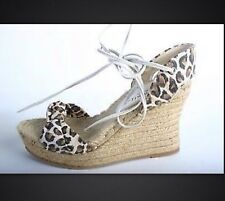 New Bettye Muller Leopard Print Platforms Wedges Sandals Shoes Size 9 M Spain