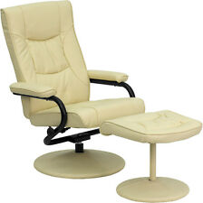 Contemporary Cream Leather Recliner & Ottoman w/Leather Wrapped Base  NEW