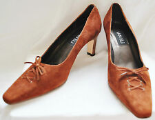 Van Eli CHIC Classic Career Brown Suede Leather Heels Pumps 7.5