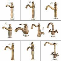 Antique Brass Bathroom Basin Vintage Mixer Faucet Single Handle Hole Vanity Taps
