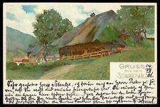 AK GRUSS AUS DEM SCHWARZWALD KÜNSTLERKARTE 1901 BADEN-BADEN - BERLIN cs80