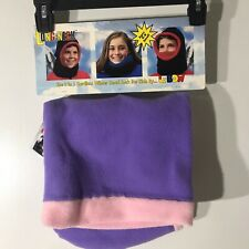 Long Neck Winter Head Sock L Bow Purple Hat NWT With Scotchlite