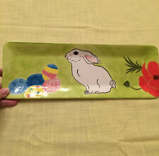"I Godinger Easter Theme Painted Ceramic Rectangular 14"" x 5"" Serving Platter"