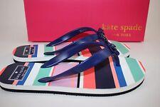 NIB KATE SPADE Size 10 Women's Tropical Stripe FIFI Bow Rubber Sandal Flip Flop
