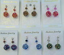 Wholesale lots 6 pair disco ball plastic ab small post fashion earring #ZQ1