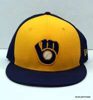 New Era 59Fifty Milwaukee Brewers ALT Fitted Hat (Navy/Yellow) MLB Cap Sz 7 1/8