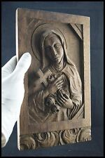 † 1950 SAINT THERESE of LISIEUX WOOD HAND CARVED FRENCH DOOR PANEL SANTA TERESIA