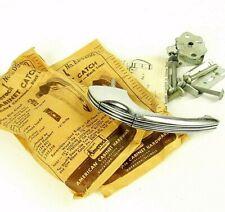 Lot Art Deco Cabinet Catch Pulls ED9400 Black Stripe Chrome Vintage Pair