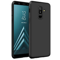 Samsung Galaxy A6+ Plus 2018 Matte Funda Carcasa Case Bumper Silicone (Negro)
