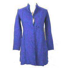 Eileen Fisher Womens Size S Petite Blue Boiled Merino Wool Open Cardigan Jacket
