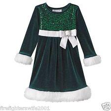 Girl's Bonnie Jean Sequin Sparkle Dress Green White nwt