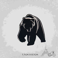 Black Grizzly Bear Iron On Patch Sew On Embroidered Patch Badge