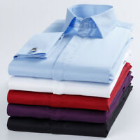 Camisas Mens French Cuff Dress Shirts Formal Business Work Multicolor ZA6570