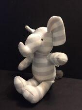 "Mon Lapin Plush Stuffed Animal Elephant Gray Grey White Striped Baby Toy 13"" HTF"