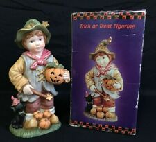 Trick Or Treat Figurine Child With Pumpkin And Cat