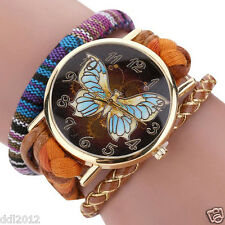 Fashion Womens Ladies Watches Knit Butterfly Analog Quartz Bracelet Wrist Watch