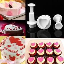 3PCS Heart Cookie Cutter Mold Sugar Craft Fondant Plunger Cake Decorating Tool