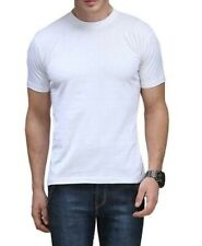 For Mens 100% Cotton Thick Basic Tee Casual T-Shirt Crew Neck Black White S-4XL
