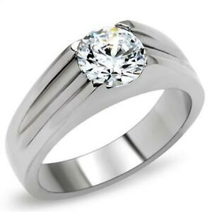 7 mm 2.30 Ct. 316 Stainless Steel Solitaire April Clear Stone Men Ring Size 8